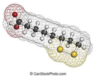 lipoic, muchos, molecule., enzima, nutritiona, ácido, ...