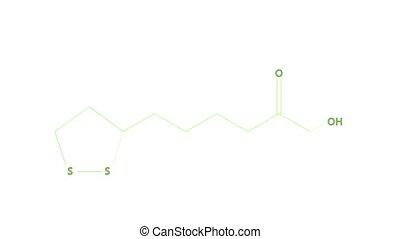 lipoic, -, vitamine, n, animation, formule, acide, ou, structural
