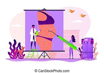 liposucción, concepto, vector, ilustración