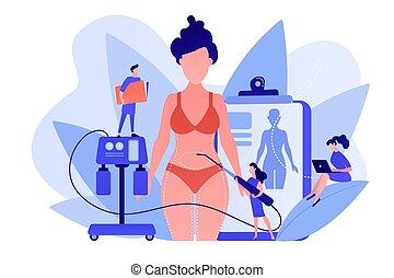 liposucción, illustration., concepto, vector