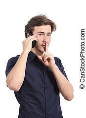 lippen, berufung, telefon, während, fragen, finger, ruhe, mann