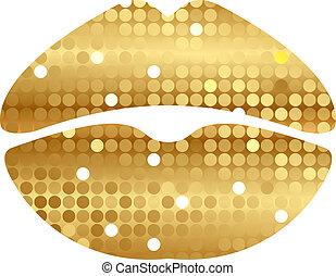 lippen, glänzend, gold