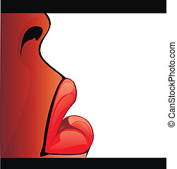 lippen, -, illustratie, liggen