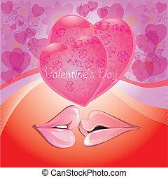 lippen, romantische , zurück, herzen, rosa