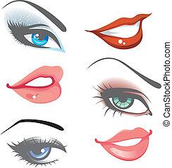 lippen, set, eyes, &
