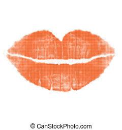 lippen, toon, rood, kus, helft