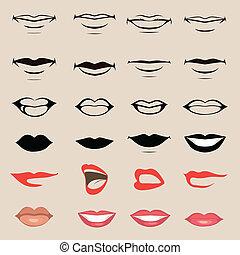 lippen, und, mund