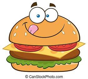 lippen, zijn, hamburger, hongerige , het likken