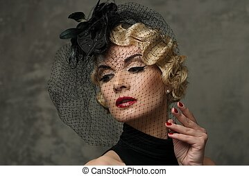 lippenstift, hut, blond, wenig, schleier, elegant, frau, rotes , tragen, retro