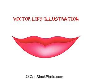 lips., 女性, イラスト, ベクトル, 微笑, mouth.