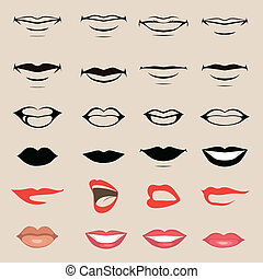 lips and mouth - vector lips and mouth, silhouette and...