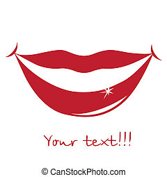 red silhouette of some beautiful lips and text