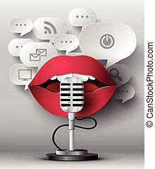 Lips are talking to the microphone and bubble speech .