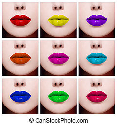 Lips - Conceptual collage with nine close-up images of...
