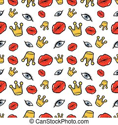 Lips Eyes and Crowns Seamless Pattern. Fashion Background in...