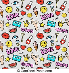 Lips Eyes and Jewelry Seamless Pattern. Fashion Background in Retro Comic Style