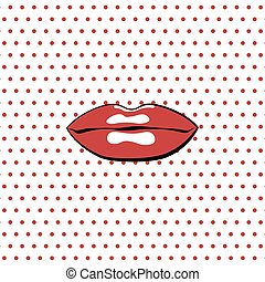 lips., mód, piros, pop-art