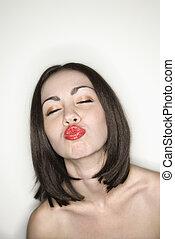 lips., mulher, franzir