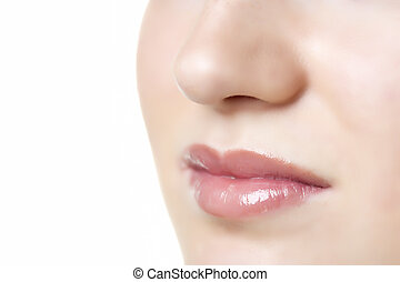 lips of woman - Closeup of a face of a woman with lips and...