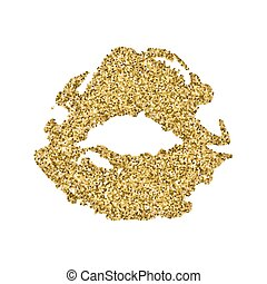 Lips print silhouette with golden sparkles. Golden lips, glamour air kiss
