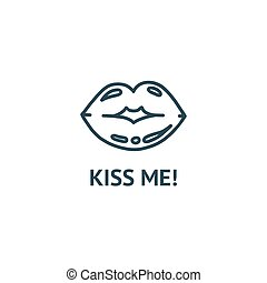 Lips ready for a kiss. Outline vector illustration of kissing in white background