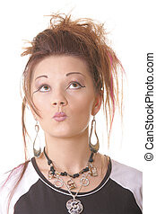 Punk style girl with lips rolled up