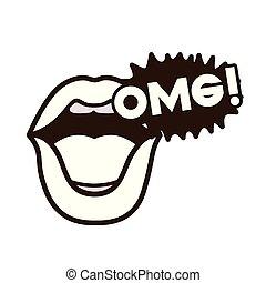 lips saying omg avatar character vector illustration design