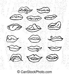 Lips set, attractive human mouths. Cartoon mouth icons....