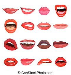 Lips set. Lip design element. Vector.