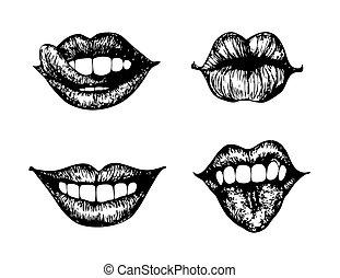Lips - set of 4 female lips