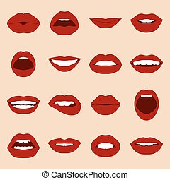 Lips set. Womans mouth close up with expressing different...