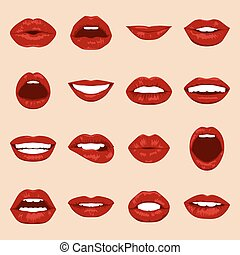 Lips set. Womans mouth close up with expressing different ...
