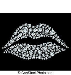 Lips shape made up a lot of diamond on the black background