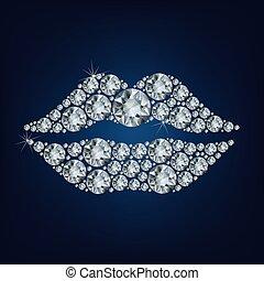 Lips shape made up a lot of diamond on the black background