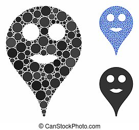Lips Smiley Map Marker Mosaic Icon of Circles