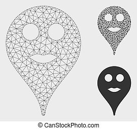 Lips Smiley Map Marker Vector Mesh Carcass Model and Triangle Mosaic Icon