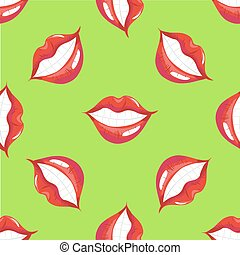 Lips smiling seamless pattern vector