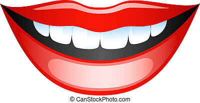 Vector image smiling female lips. Isolated on white. EPS 8
