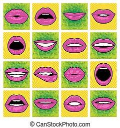 lips., vector, kunst, knallen