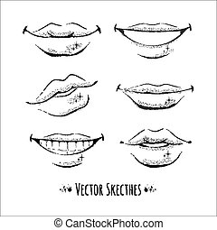 Lips. Vector set. Isolated.