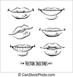 Lips. Vector set. Isolated.