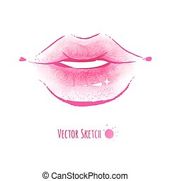 Lips. Watercolor sketch. Vector EPS 10.