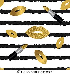 Lips with glitter seamless vector pattern