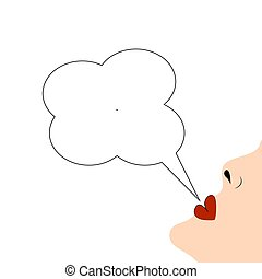 Lips with speech bubble on white background.