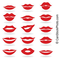 Lips6 - Set red the girl of lips. A vector illustration
