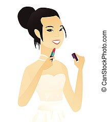 lipstick., ペンキ, 若い, 花嫁, 唇, アジア人, 赤