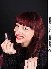 lipstick, 握住, 管子, redhead