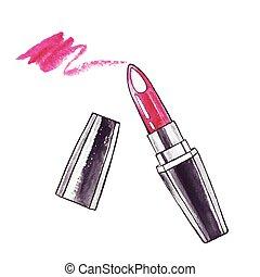 lipstick., 美しい, 水彩画
