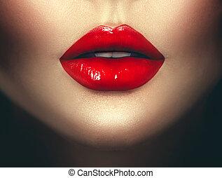 lipstick., 여자, 예술, 매력, 입술, 유행 디자인, 성적 매력이 있는, 빨강