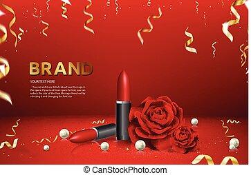 Lipstick Advertising Banner Brand Product Ad Vector Illustration